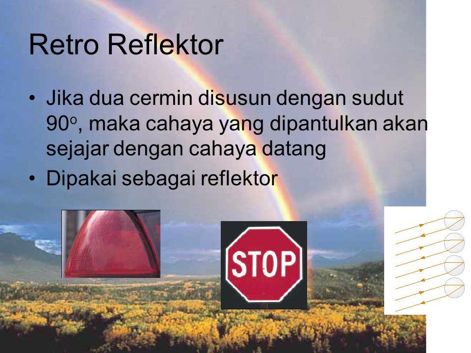 Retro Reflektor Jika dua cermin disusun dengan sudut 90o, maka cahaya yang dipantulkan akan sejajar dengan cahaya datang.