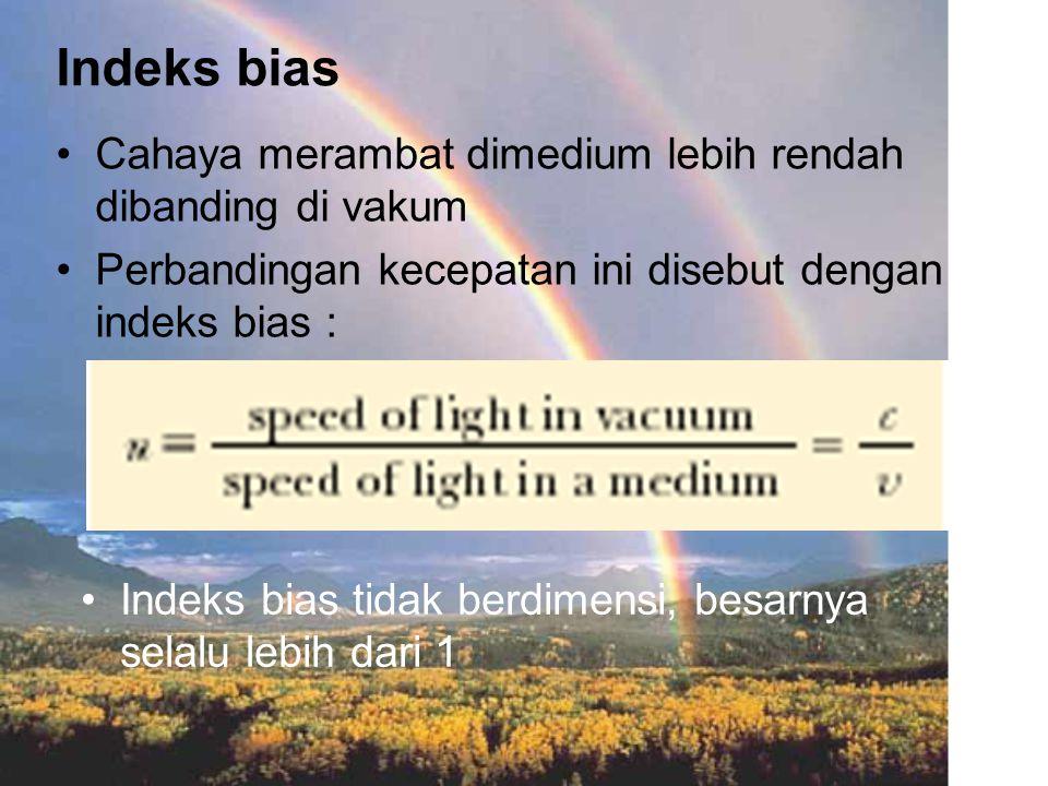Indeks bias Cahaya merambat dimedium lebih rendah dibanding di vakum