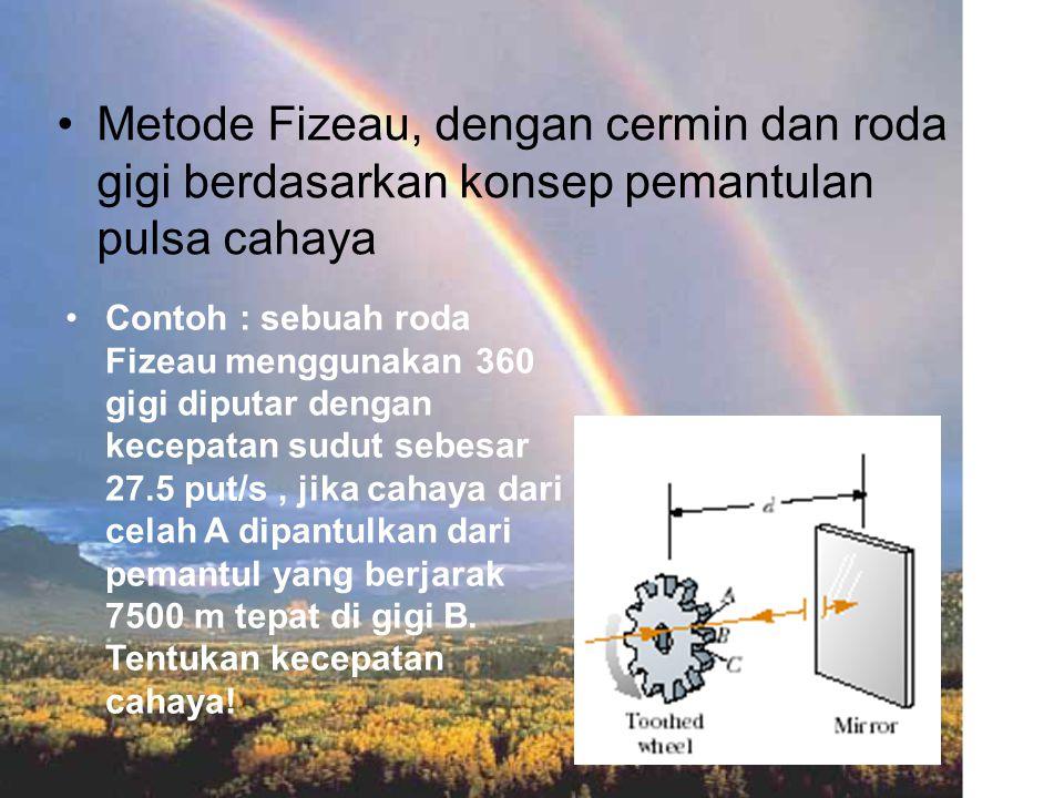 Metode Fizeau, dengan cermin dan roda gigi berdasarkan konsep pemantulan pulsa cahaya
