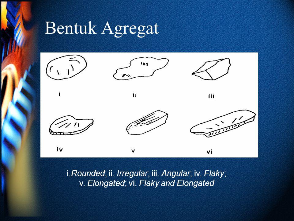 Bentuk Agregat i.Rounded; ii. Irregular; iii. Angular; iv. Flaky;