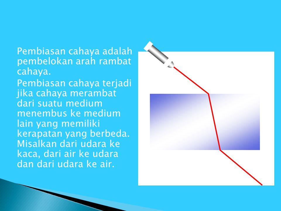 Pembiasan cahaya adalah pembelokan arah rambat cahaya
