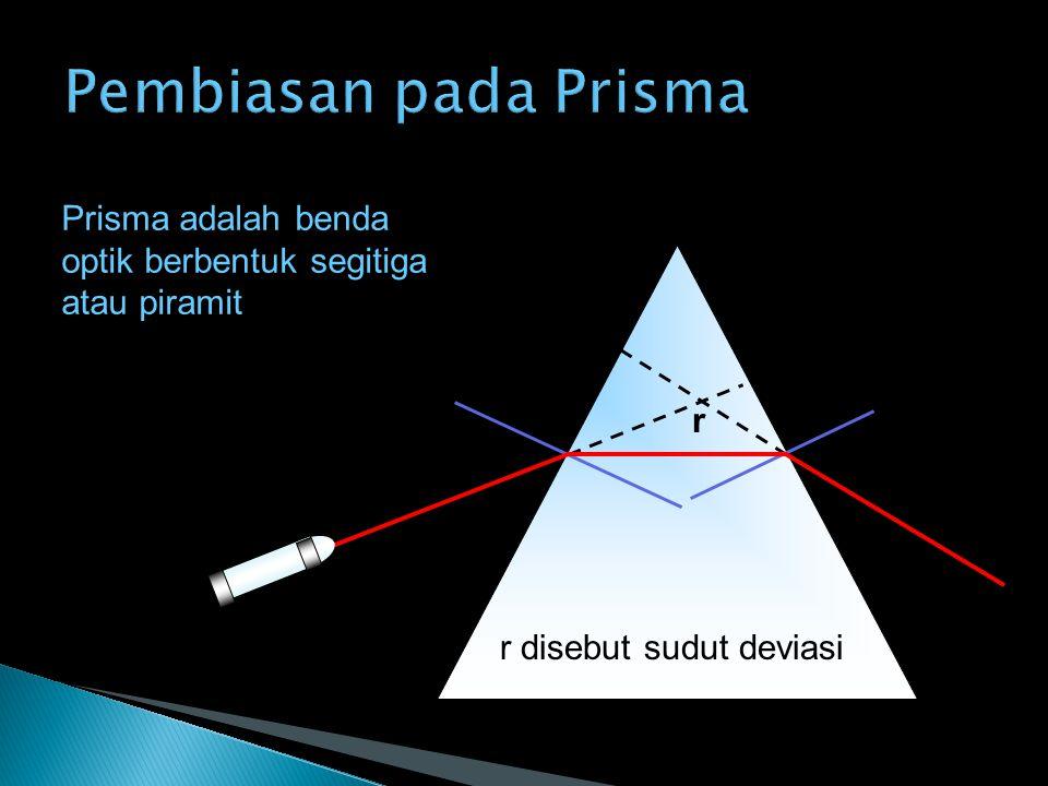 Pembiasan pada Prisma Prisma adalah benda optik berbentuk segitiga atau piramit.