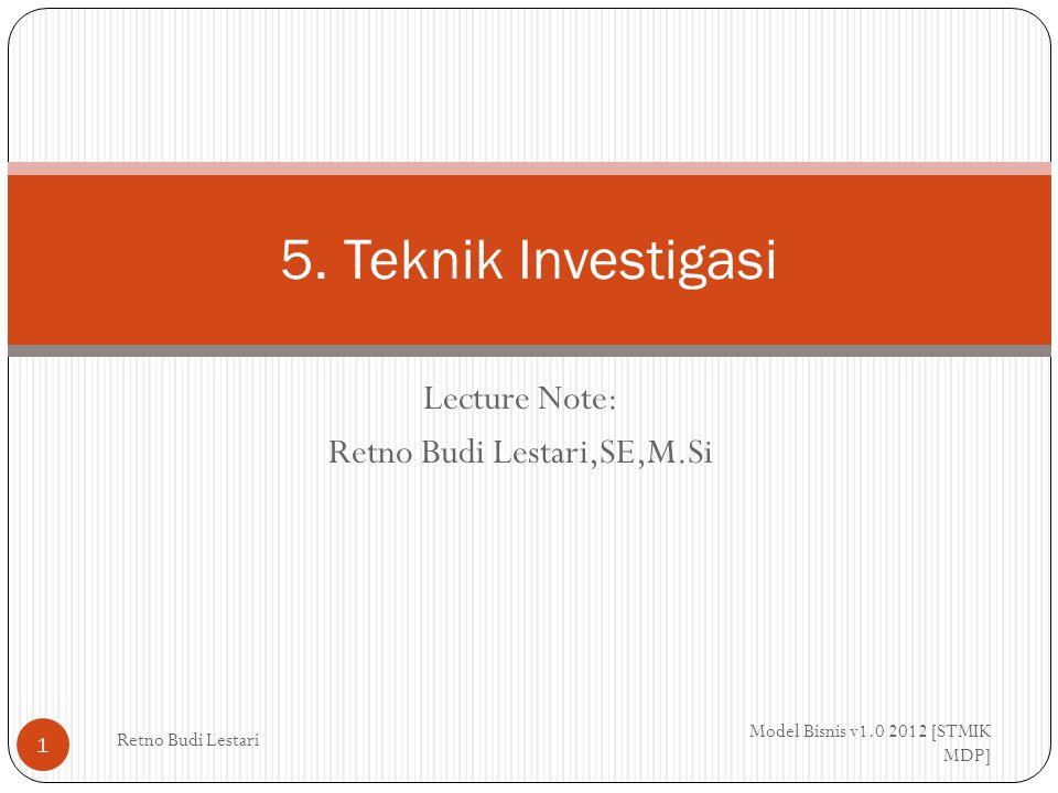 Lecture Note: Retno Budi Lestari,SE,M.Si