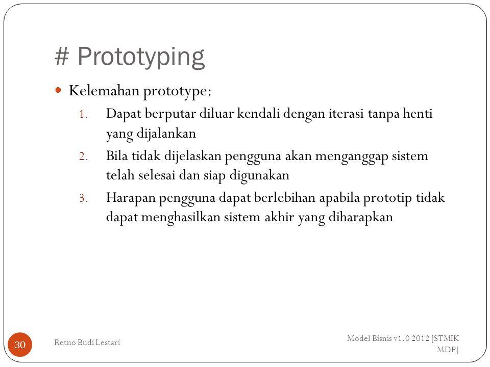 # Prototyping Kelemahan prototype: