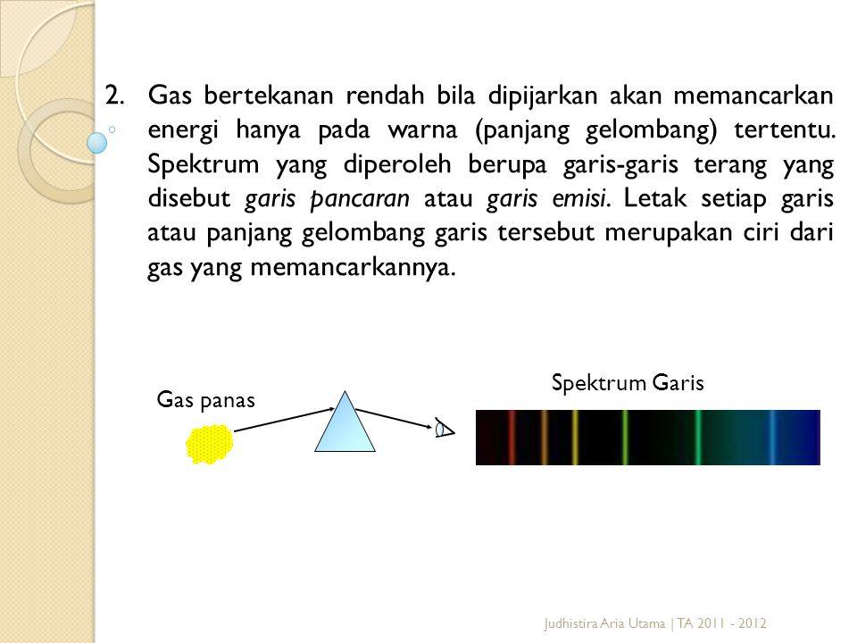 Gas bertekanan rendah bila dipijarkan akan memancarkan energi hanya pada warna (panjang gelombang) tertentu. Spektrum yang diperoleh berupa garis-garis terang yang disebut garis pancaran atau garis emisi. Letak setiap garis atau panjang gelombang garis tersebut merupakan ciri dari gas yang memancarkannya.