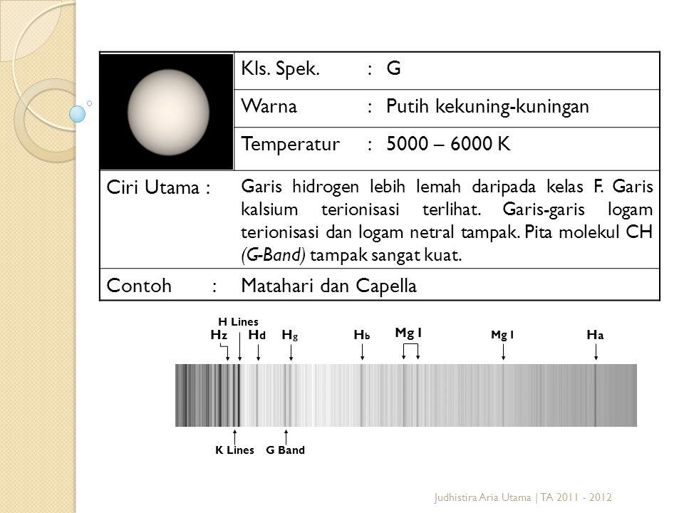 Putih kekuning-kuningan Temperatur 5000 – 6000 K Ciri Utama :