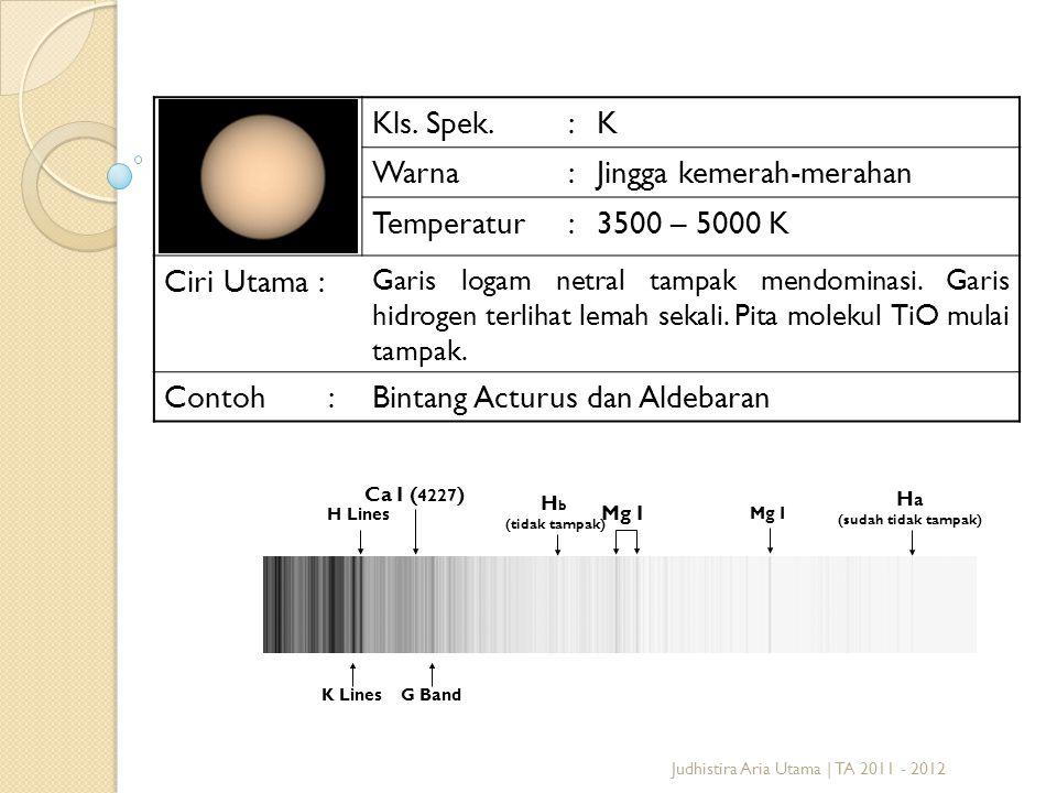 Jingga kemerah-merahan Temperatur 3500 – 5000 K Ciri Utama :