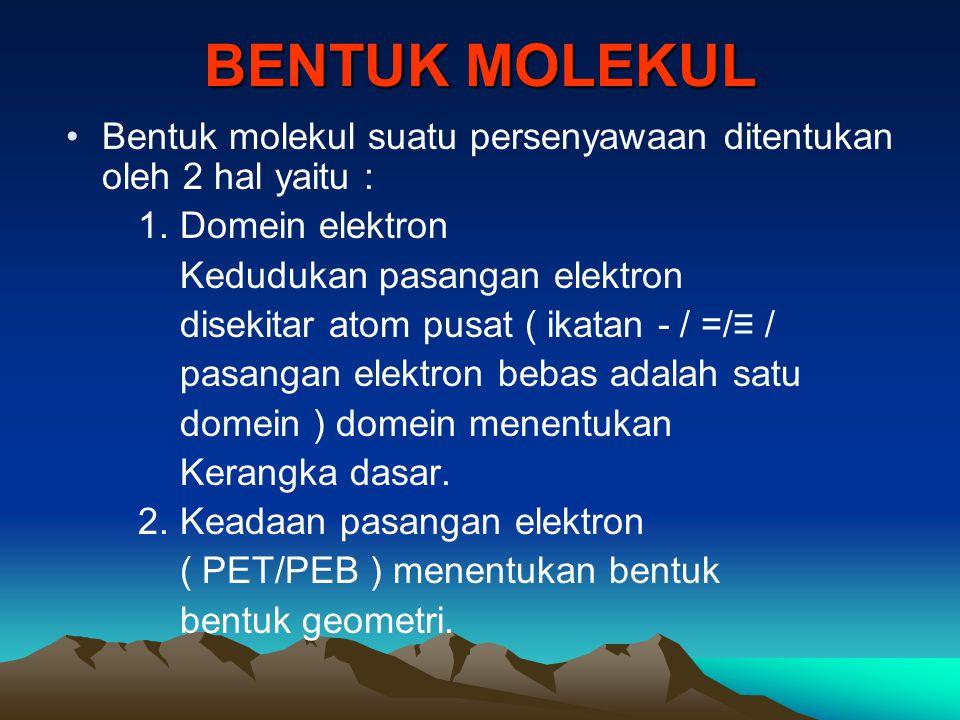 BENTUK MOLEKUL Bentuk molekul suatu persenyawaan ditentukan oleh 2 hal yaitu : 1. Domein elektron.