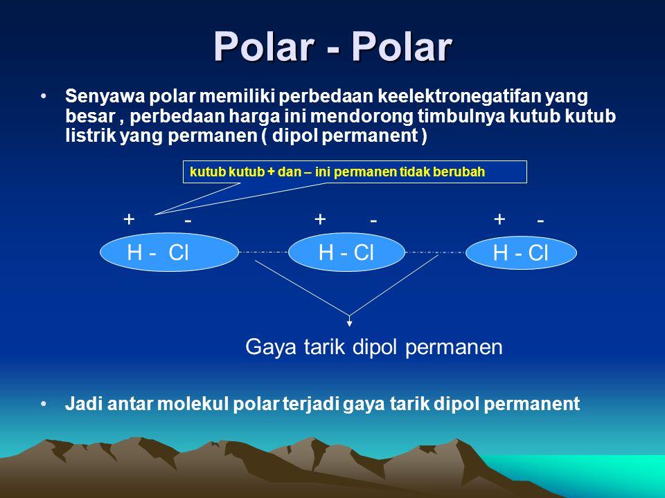 Polar - Polar + - + - + - H - Cl H - Cl H - Cl
