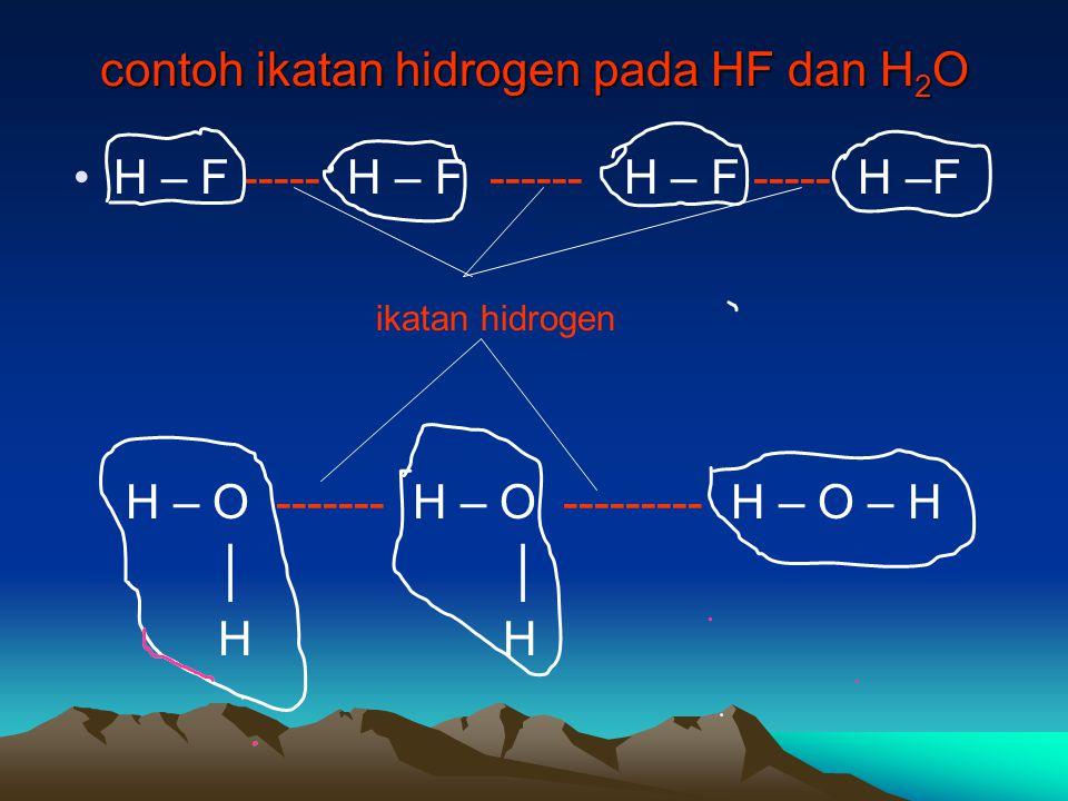 contoh ikatan hidrogen pada HF dan H2O