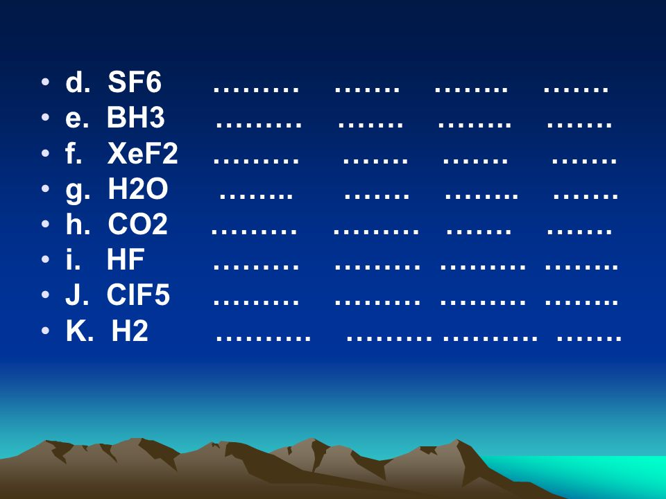 d. SF6 ……… ……. …….. ……. e. BH3 ……… ……. …….. ……. f. XeF2 ……… ……. ……. …….