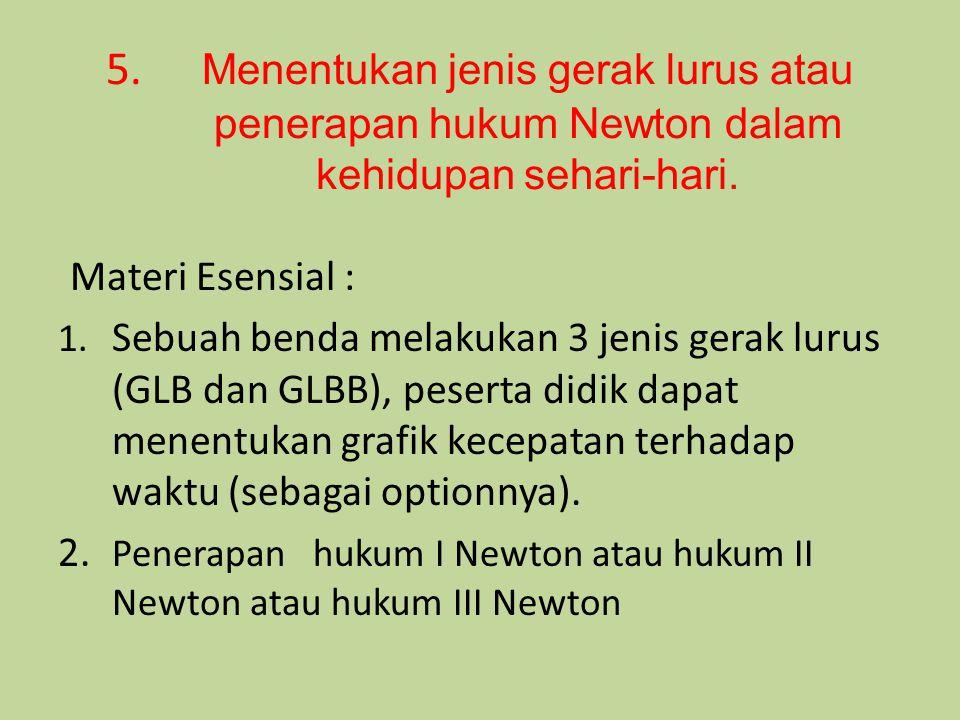 5. Menentukan jenis gerak lurus atau. penerapan hukum Newton dalam