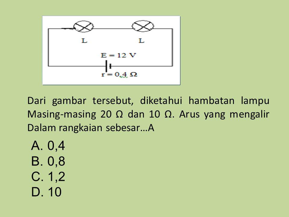 Dari gambar tersebut, diketahui hambatan lampu Masing-masing 20 Ω dan 10 Ω. Arus yang mengalir Dalam rangkaian sebesar…A