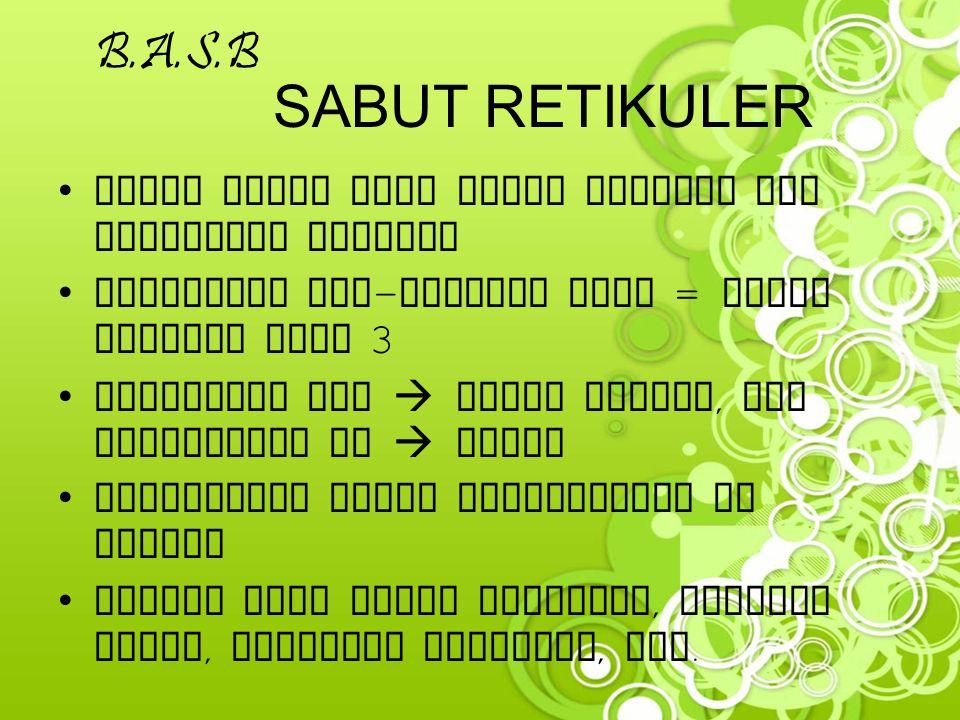 B.A.S.B SABUT RETIKULER. Lebih halus dari sabut elastis dan membentuk anyaman. Merupakan pre-kolagen atau = sabut kolagen tipe 3.
