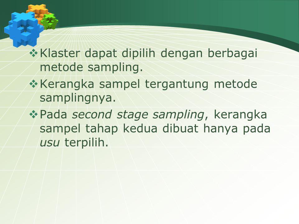 Klaster dapat dipilih dengan berbagai metode sampling.