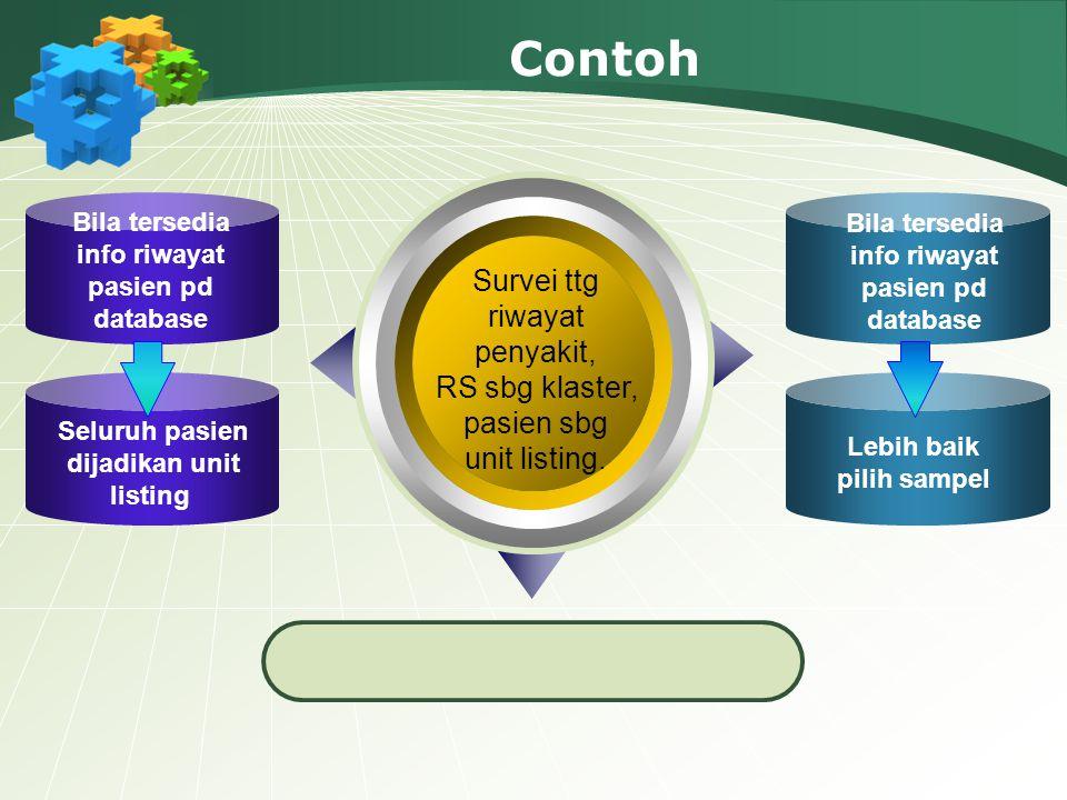 Contoh Survei ttg riwayat penyakit, RS sbg klaster, pasien sbg