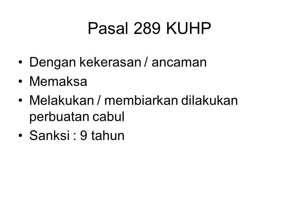 Pasal 289 KUHP Dengan kekerasan / ancaman Memaksa