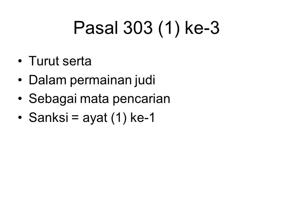 Pasal 303 (1) ke-3 Turut serta Dalam permainan judi