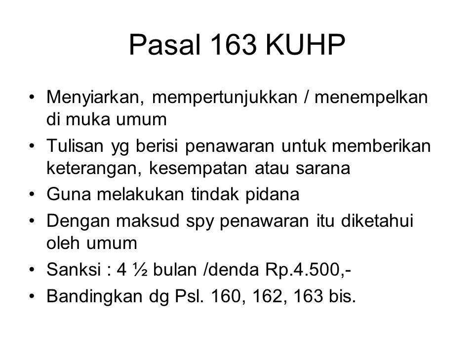Pasal 163 KUHP Menyiarkan, mempertunjukkan / menempelkan di muka umum