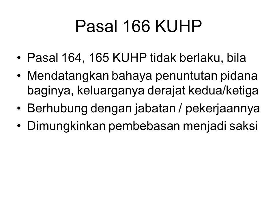 Pasal 166 KUHP Pasal 164, 165 KUHP tidak berlaku, bila
