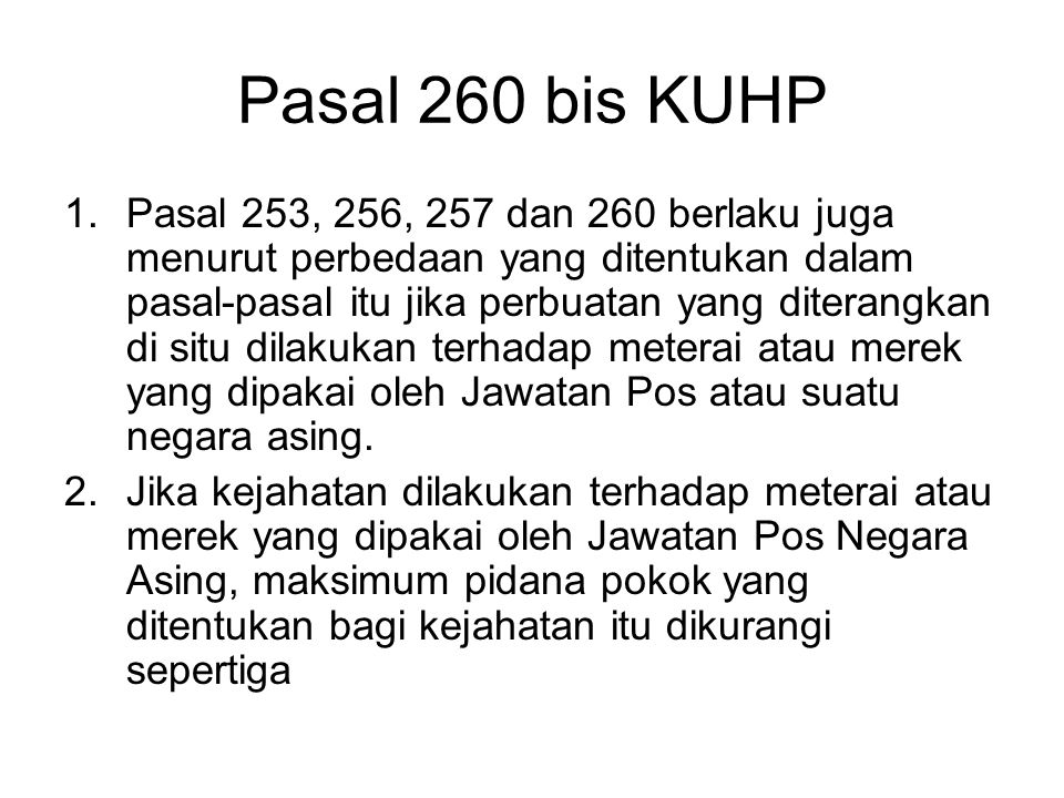 Pasal 260 bis KUHP