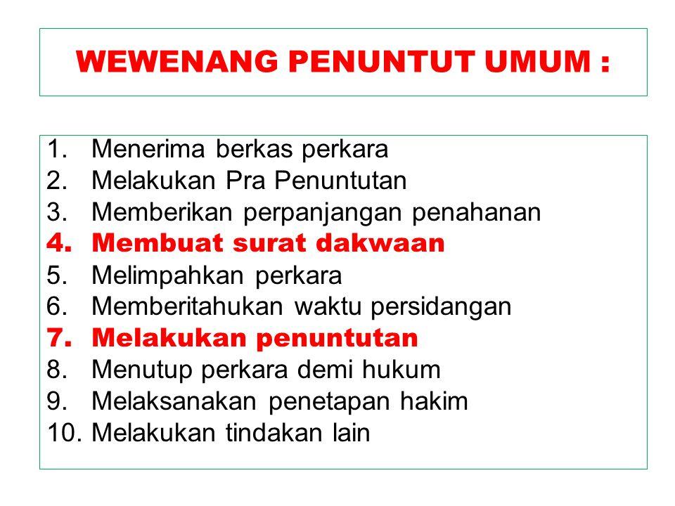 WEWENANG PENUNTUT UMUM :