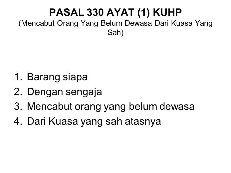 PASAL 330 AYAT (1) KUHP (Mencabut Orang Yang Belum Dewasa Dari Kuasa Yang Sah)