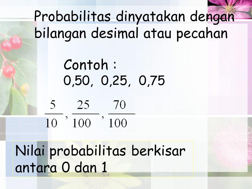 Probabilitas dinyatakan dengan bilangan desimal atau pecahan