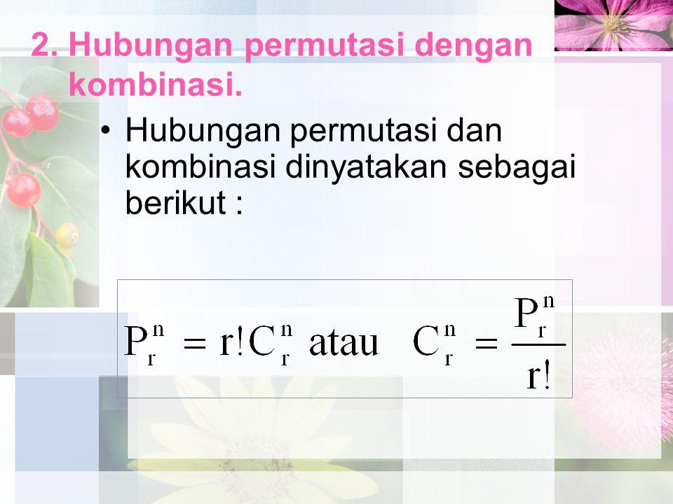 2. Hubungan permutasi dengan kombinasi.
