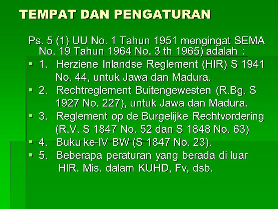 TEMPAT DAN PENGATURAN Ps. 5 (1) UU No. 1 Tahun 1951 mengingat SEMA No. 19 Tahun 1964 No. 3 th 1965) adalah :