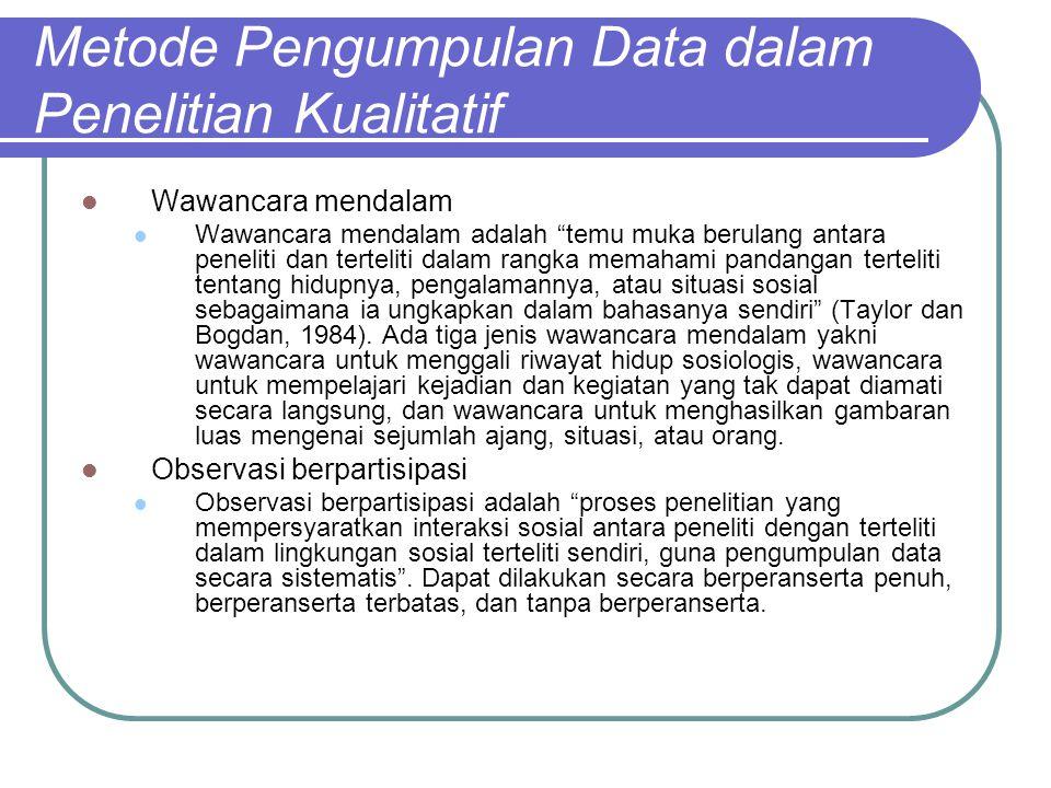 Metode Pengumpulan Data dalam Penelitian Kualitatif