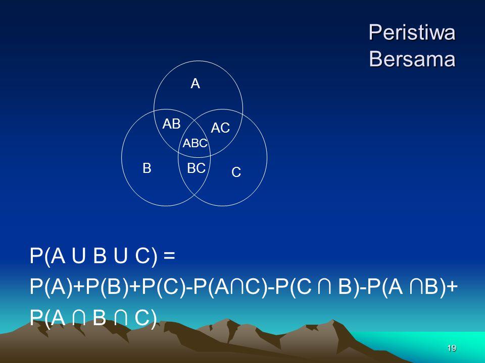 Peristiwa Bersama P(A U B U C) =