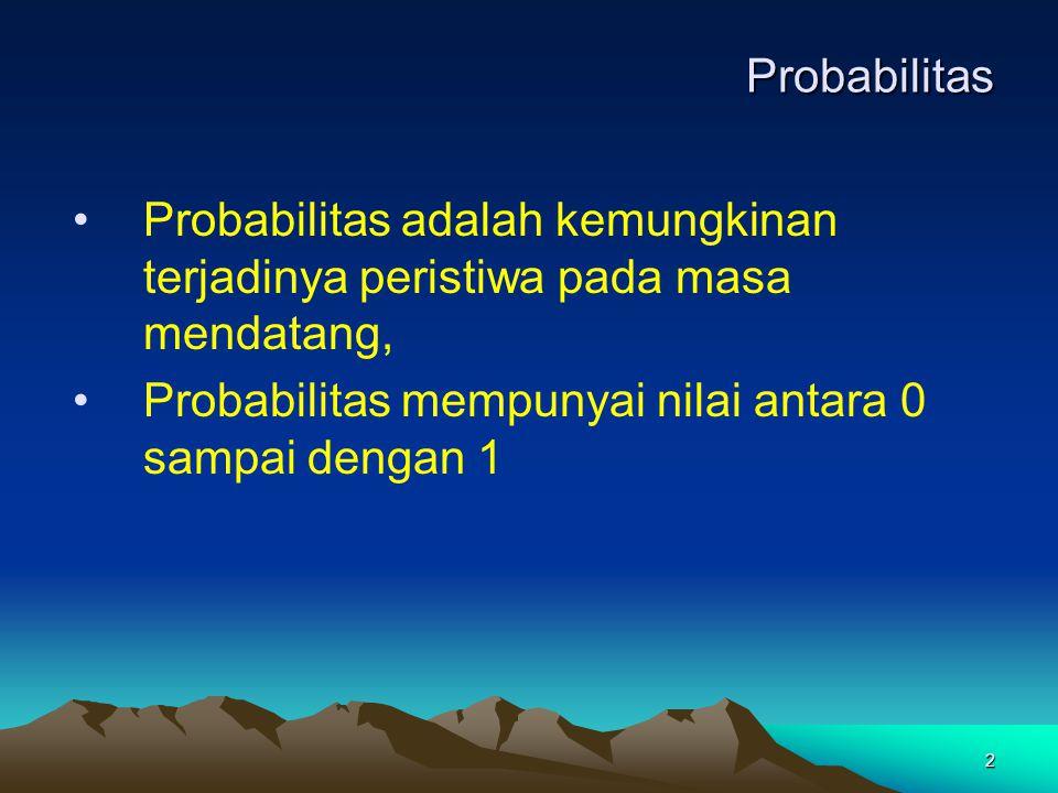 Probabilitas Probabilitas adalah kemungkinan terjadinya peristiwa pada masa mendatang, Probabilitas mempunyai nilai antara 0 sampai dengan 1.