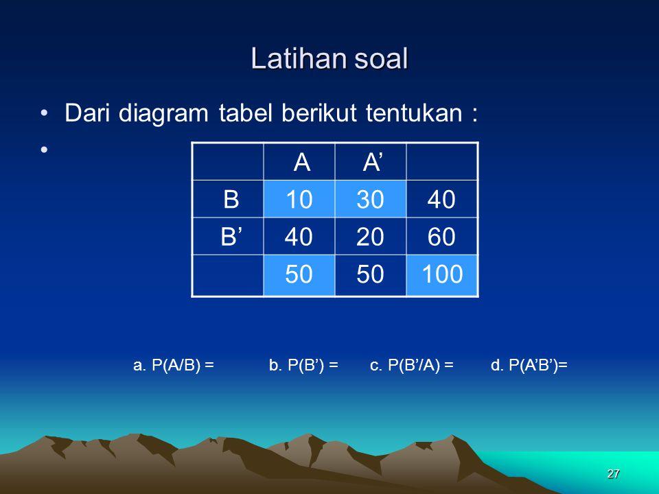 Latihan soal Dari diagram tabel berikut tentukan : A A' B 10 30 40 B'