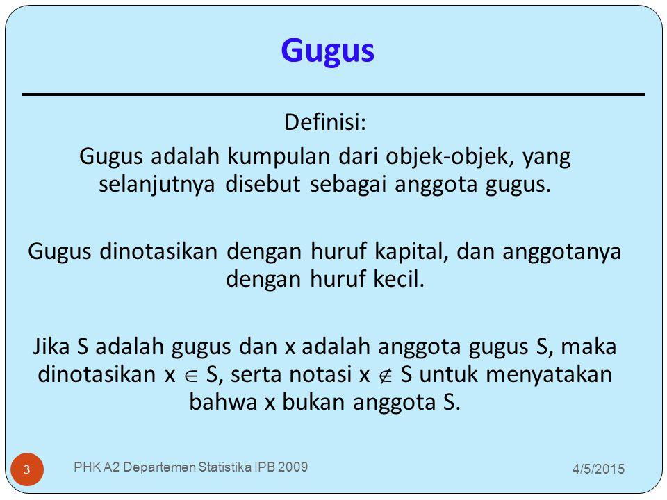 Gugus Definisi: Gugus adalah kumpulan dari objek-objek, yang selanjutnya disebut sebagai anggota gugus.