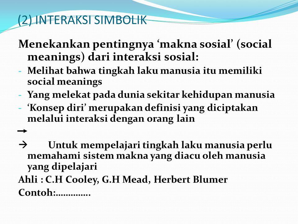 (2) INTERAKSI SIMBOLIK Menekankan pentingnya 'makna sosial' (social meanings) dari interaksi sosial: