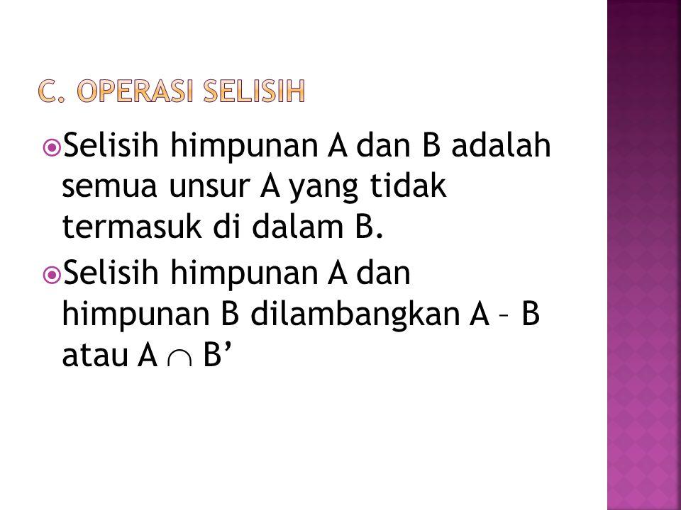 Selisih himpunan A dan himpunan B dilambangkan A – B atau A  B'