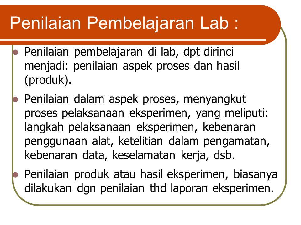 Penilaian Pembelajaran Lab :
