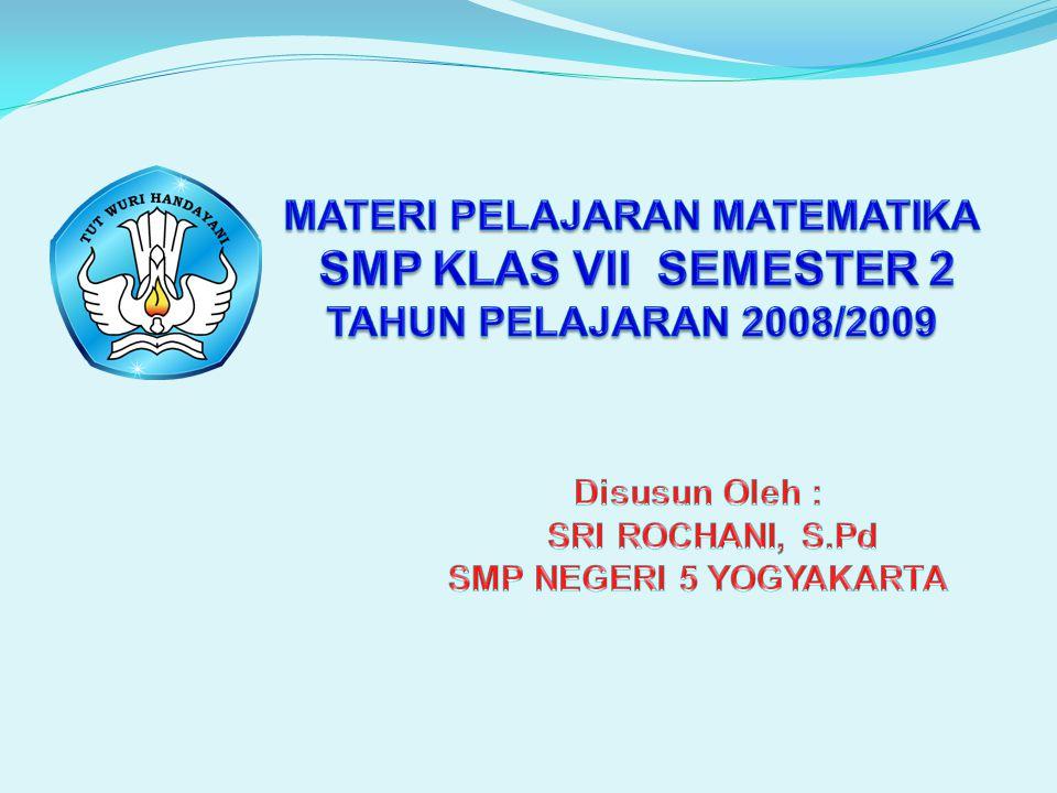 MATERI PELAJARAN MATEMATIKA SMP KLAS VII SEMESTER 2 TAHUN PELAJARAN 2008/2009
