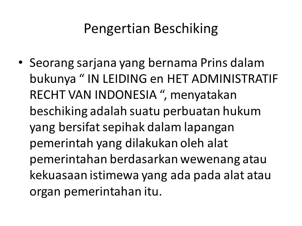 Pengertian Beschiking