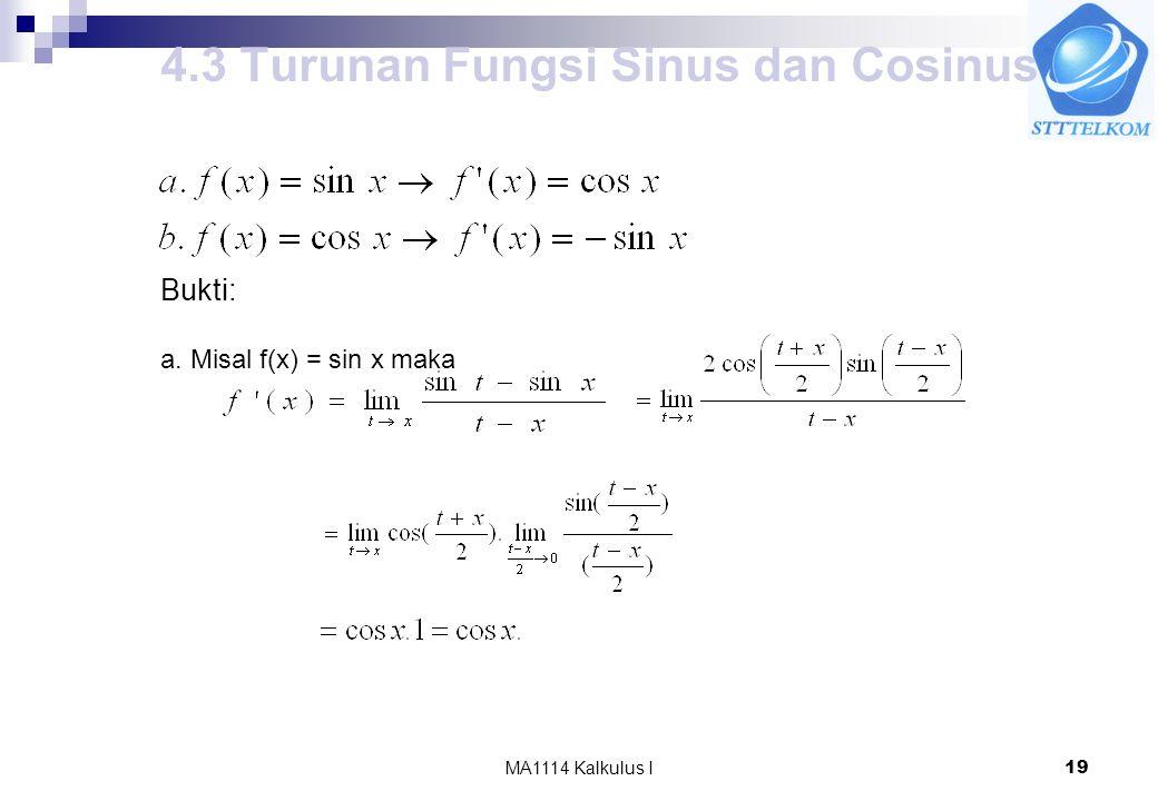 4.3 Turunan Fungsi Sinus dan Cosinus