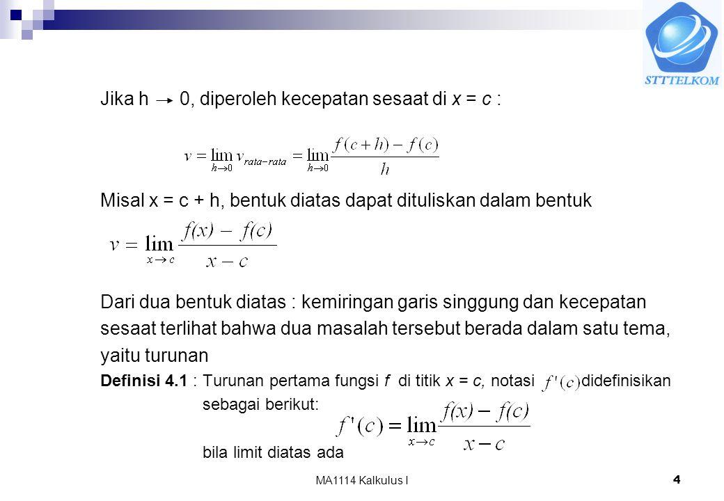 Jika h 0, diperoleh kecepatan sesaat di x = c :