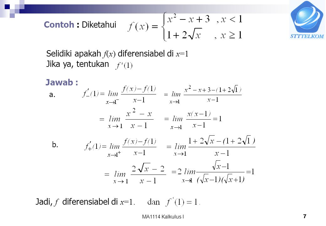 Selidiki apakah f(x) diferensiabel di x=1 Jika ya, tentukan