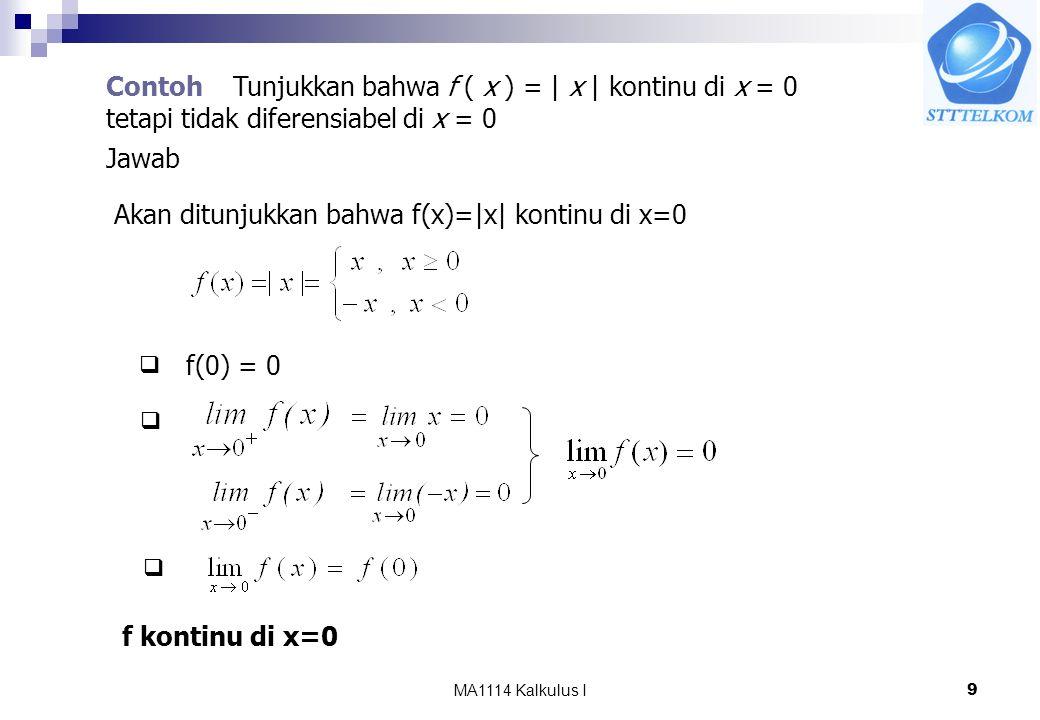 Akan ditunjukkan bahwa f(x)=|x| kontinu di x=0