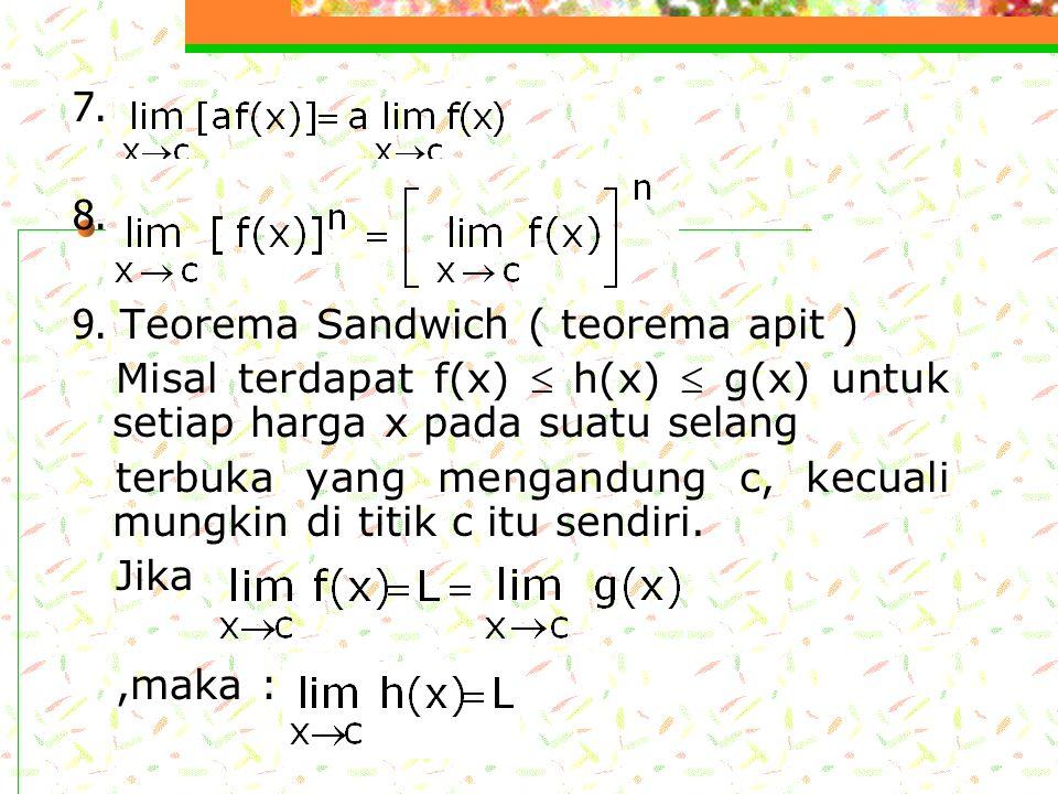 7. 8. 9. Teorema Sandwich ( teorema apit ) Misal terdapat f(x)  h(x)  g(x) untuk setiap harga x pada suatu selang.