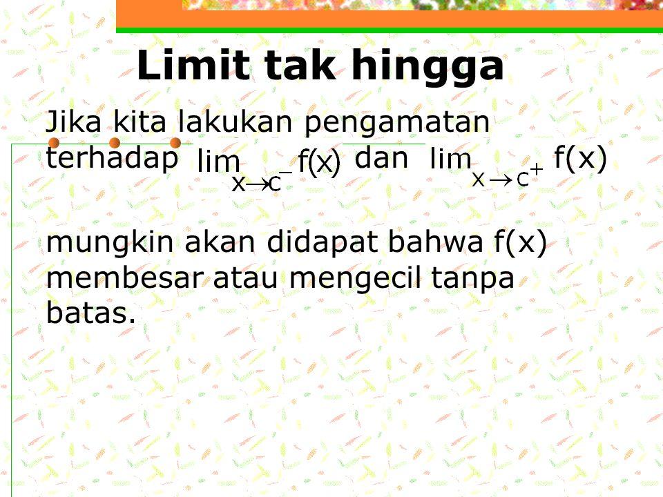 Limit tak hingga Jika kita lakukan pengamatan terhadap dan f(x)