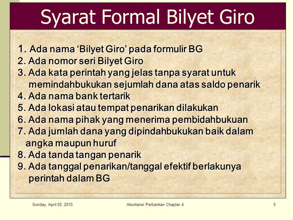 Syarat Formal Bilyet Giro