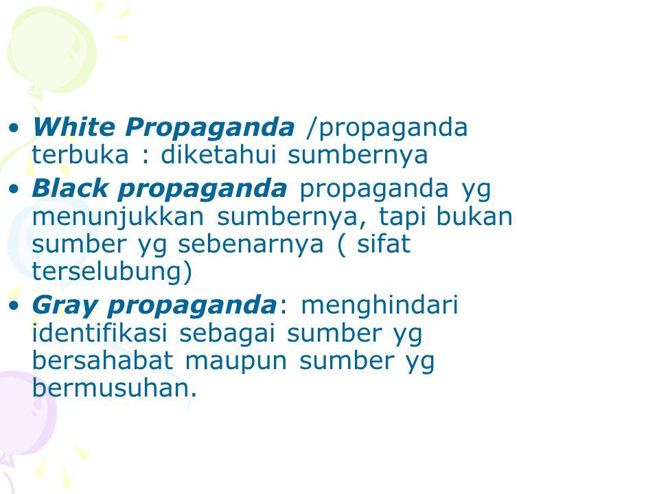 White Propaganda /propaganda terbuka : diketahui sumbernya