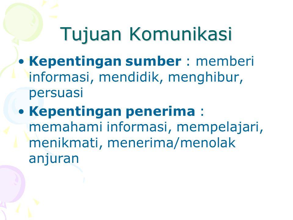 Tujuan Komunikasi Kepentingan sumber : memberi informasi, mendidik, menghibur, persuasi.