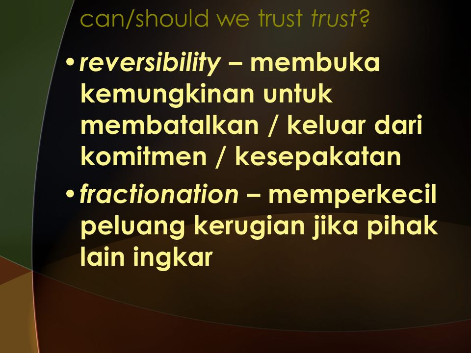 can/should we trust trust
